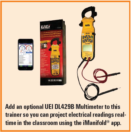 UEI-DL429B Multimeter with Smartphone showing iManifold App