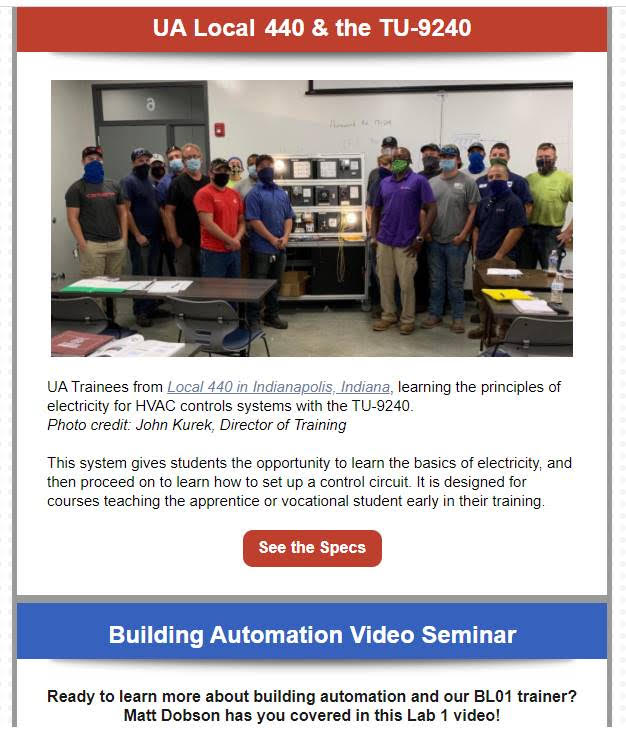 UA Trainees from Local 440 learn principles of electricity for HVAC controls systems with TU-9240